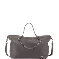 Leather Satchel Bag with Chain Detail, Gravel - Halston