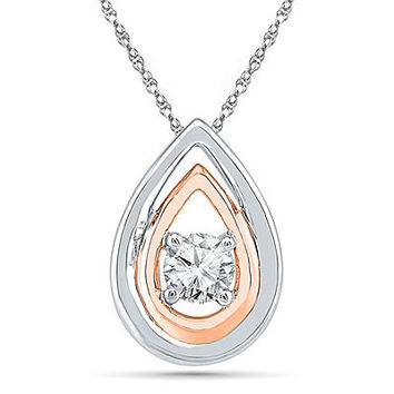 5.0mm Lab-Created White Sapphire Double Drop Pendant in Sterling Silver and 10K Rose Gold - View All Necklaces - Zales