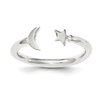 925 Sterling Silver Crescent Moon Star Ring