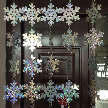 Free shipping, Christmas interior decoration, snowflake sequins curtain, PVC sequins laser snowflake, Christmas tree decoration.