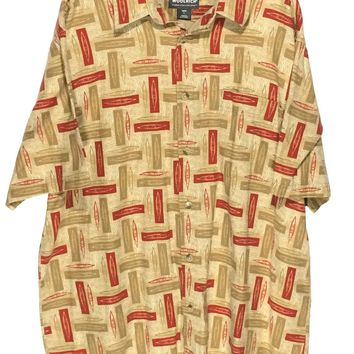 Woolrich Khaki Kayaks Canoes Camping Red Brown Pocket Button Shirt Mens Large L - Preowned