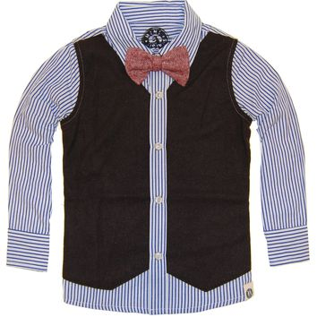 Tweed Vest Bow Tie Button Down Baby Shirt by: Mini Shatsu
