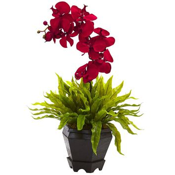 Silk Flowers -Birds Nest And Red Orchid Combo With Planter Arrangement