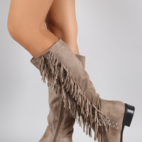 Qupid Studs and Fringe Knee High Boots
