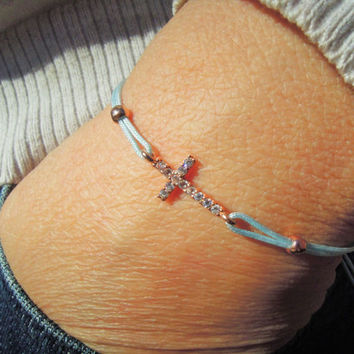 Celebrity Style Small Sideways Cross Bracelet - gold plated Religious Jewelry - Friendship Bracelet - Tennis bracelet - Children Jewelry
