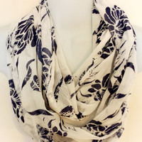 Nautical Scarf Spring Infinity Scarf Fashion Scarves Floral Circle Scarf Womens Eternity Loop Patriotic Scarf Preppy Scarf