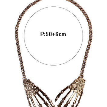 Golden Skeleton Hand Curb Chain Necklace