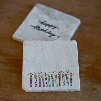 Birthday Candles Marble Coasters