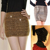 2014 Autumn and Winter Basic Short Mini Skirts For Women Slim Hip Fashion Paillette Sexy Bodycon Mini Skirt 22