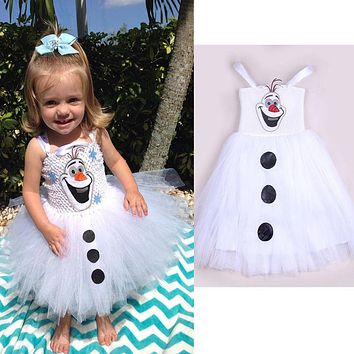Fairy Cartoon Kids White Cute Snowman Olaf Costume Girls Baby Tulle Tutu Dress Princess Dress2-7Y