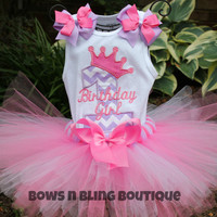 1st Birthday Outfit Lavender and Hot Pink Chevron Tutu First Birthday