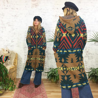 Vintage 1980's NAVAJO Wool Mohair Hooded Oversized Cardigan Sweater || Size Medium