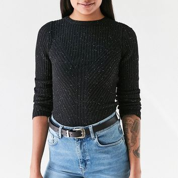 Silence   Noise Speckle Patterned Rib Pullover Sweater