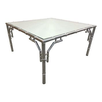 Pre-owned Chrome Faux Bamboo Square Cocktail Table