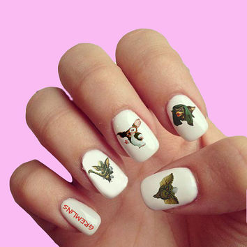 Gremlins Vintage Movie Pop Art Vintage Movie Halloween Trick or Treat - Nail Art - Nail Decals