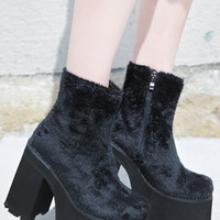 Current Mood Funky Fur Boogie Boot Black Fur