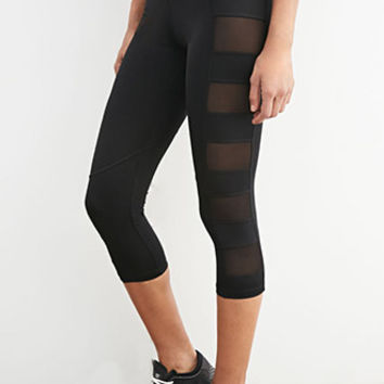 Mesh-Paneled Capri Leggings