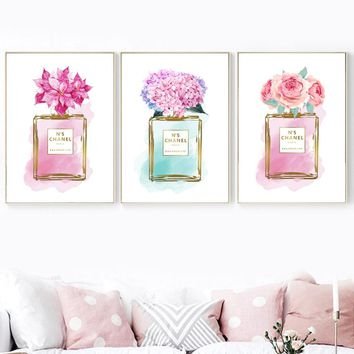 Watercolor Perfume Rose Peony Flower Wall Art Canvas Painting Nordic Posters And Prints Wall Pictures For Living Room Wall Decor