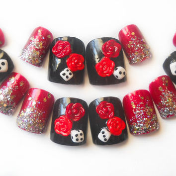 Gothic Nail Art, Rose Fake Nails, Dice Fake Nails, Press on Nails, Acrylic Nails, Artificial Nails, False Nails, 3D Nails, 3D Nail Art, Goth
