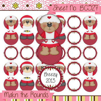 Santa and Mrs. Claus Bears - Christmas Ornaments - 1 inch Circle Bottle Cap Image - 4x6 and 8.5x11 Digital Collage - Instant Download