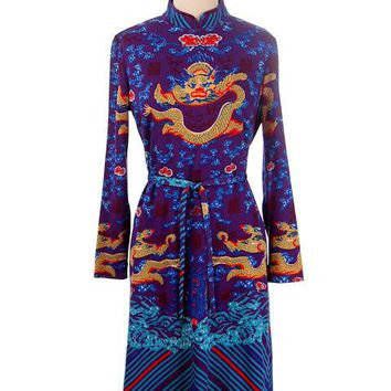 Vintage  Knit Dress Goldworm Dragon Print Blue Made in Italy 1970s M-L