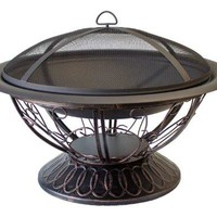 AZ Patio Heaters Fire Pit with Scroll Design, Wood Burning