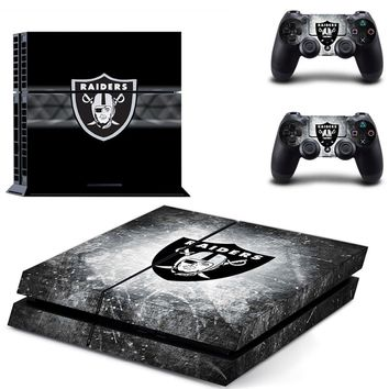 Oakland Raiders PS4 Skin Sticker Decal For Sony PlayStation 4 Console and 2 Controllers PS4 Skins Stickers Vinyl