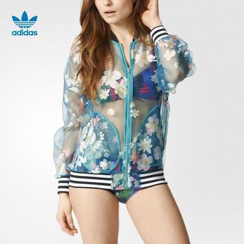 DCCKXT7 Adidas' Women Stripe Floral Print Perspective Long Sleeve Zip Cardigan Sunscreen Clothes Coat