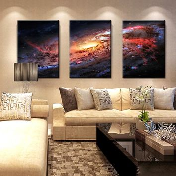 Space and Universe  Canvas Print Space Landscape Paintings Wall Art Decor Universe Galaxy Stars 3 Piece Picture Print on Canvas