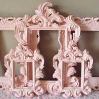 Picture Frames Cottage Shabby Chic 5 Open Frames Wall Gallery Soft Pink or Any Color Frames Baroque Wedding Home Decor Reception Baby