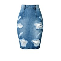 Vintage Distress Jean Skirt
