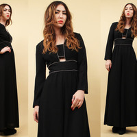 60s 70s Vtg Jet Black RHINESTONE Cut Out Long Sleeve Maxi Dress / Peek A Boo Front Slit Mod Dolly GLAM / Xs Sm