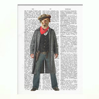 Vintage Dictionary Paper Cowboy Dog Dictionary Art Print