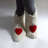 Heart Slippers, House Shoes, Womens Slippers Socks in Cream Red, Valentines Slippers