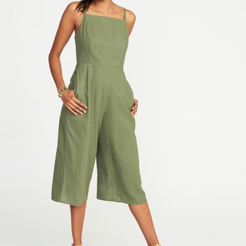 Waist-Defined Square-Neck Linen-Blend Jumpsuit for Women | Old Navy