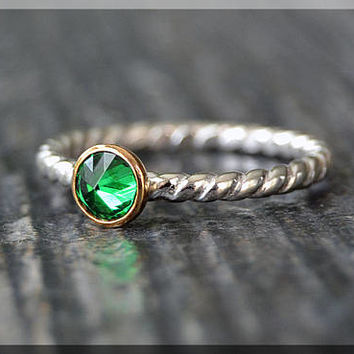 Sterling Silver Birthstone Ring, Choose Your Birthstone, Inverted Gemstone Ring, Twisted Rope Ring, Stacking Birthstone Ring, Mixed Metals