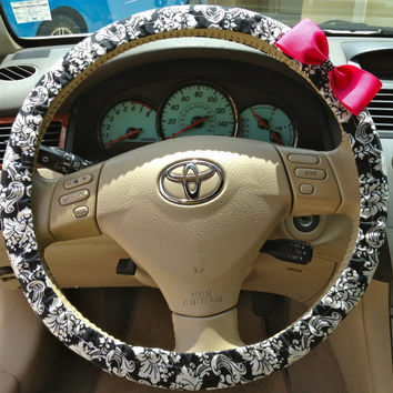 Steering Wheel Cover Black & White Damask Fabric w/Pink Bow, Teen, Gifts, Women, car, accessories, girl, steering wheel covers