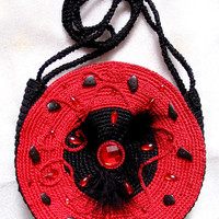 "Elegant double-side round bag ""Red and Black"", hand knited,gift for her"