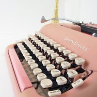 working pink typewriter smith corona typewriter vintage typewriter 1950s typewriters 1960s decor mid century antique typewriter type writer