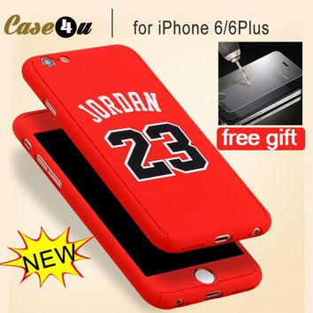 360 Degree Michael Jordan Air 23 Sports Star full body Tempered Glass covers cases for iPhone 6 6s 7 8 Plus Hybrid Kobe Bryant