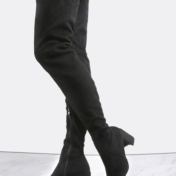 Suede Block Heel Thigh Boots BLACK | MakeMeChic.COM