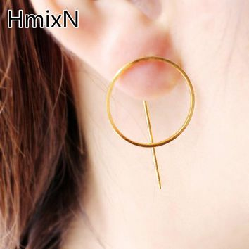 Big Circle Earring Simple Minimalism Fashion Statement Jewelry Metal Punk Style round stud Earring For Women copper Brincos