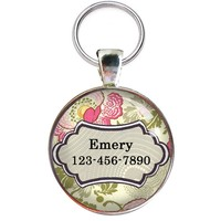 Colorful Pet Id Tag - Beautiful Custom Dog Id Tag- ONE INCH DIAMETER - Dog Tag Great for Cats and Small Breed Dogs - From California Mutts!
