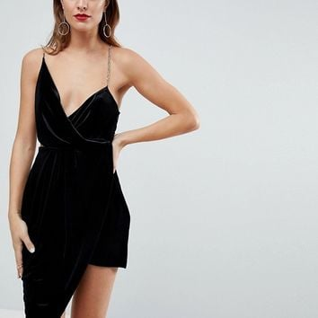 ASOS Velvet Drape Chain Back Midi Dress at asos.com