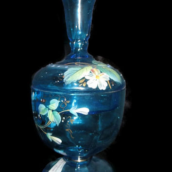 Bohemian Turquoise Hand Painted Glass Candy Dish with Bud Vase Lid