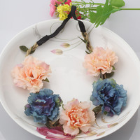 Summer Bohemia Handmade Flower Crown Wedding Wreath Bridal Headdress Headband Hairband Hair Band Accessories For Women Lady Girl