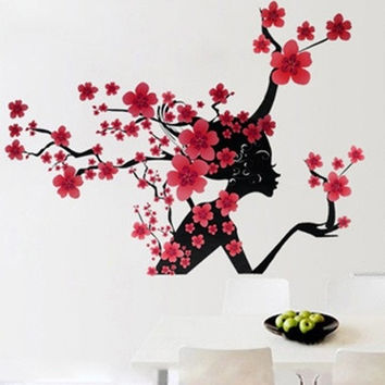 Elegant Flower Princess Wall Stickers Graceful Peach Blossom Fairy Wall Stickers Furnishings Romantic Living Room Decoration = 1958328004