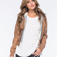 Full Tilt Faux Leather Fur-Lined Womens Bomber Jacket Camel  In Sizes