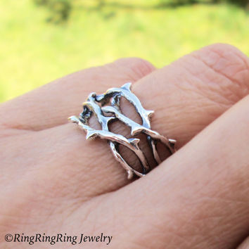 Thorn ring Unique ring jewelry Sterling silver ring Woven crown of thorns Tree branch ring for men and women jewelry handmade R-214234 BB