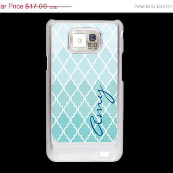 SALE Blue quatrefoil Pattern with name Samsung Galaxy S2 case, AT&T i9100 cover, Samsung Galaxy Sii cover, hard case
